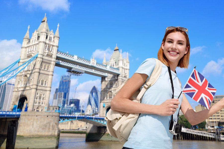 Woman traveller London Bridge UK